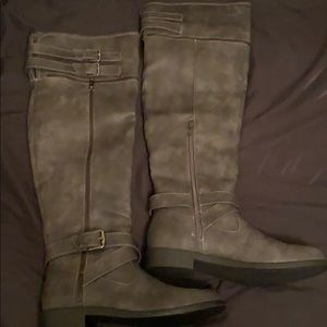 Brand new over the knee flat grey boots